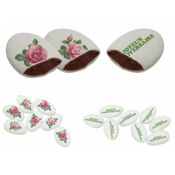 110 Dragées chocolat personnalisés décor Roses Vintages texte