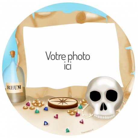 Disque en sucre rond carte au pirate personnalisé pour décorer vos gâteaux d'anniversaires.Diamètre 19 cm Peut être conservé 6 mois...