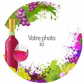 Décor azyme sur sucre rond vin personnalisé