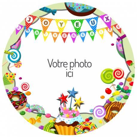 Disque sucre personnalisé pour décorer vos gâteaux d'anniversaires.Diamètre 19 cm  Peut être conservé 6 mois après la réception dans un...