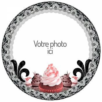 Disque sucre pour gâteau personnalisé Black Cupcakes