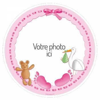 Disque sucre pour gâteau personnalisé Baby rose