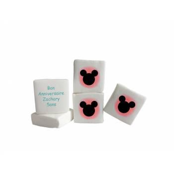 48 Guimize carrés personnalisés texte Mickey rouge