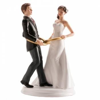 Couple de mariés avec anneaux 20cm