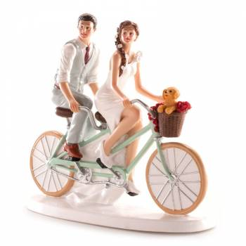 Couple de mariés bicyclette 20cm
