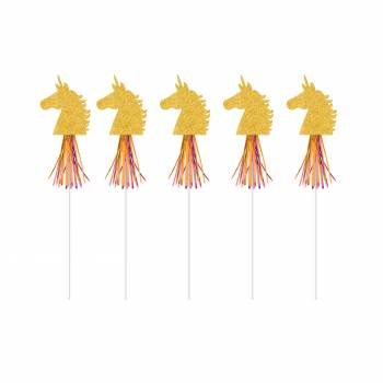 6 Décors cocktail Licorne d'or