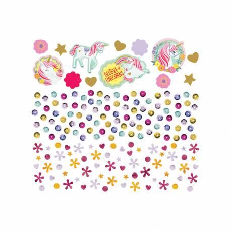 Confettis de table à parsemer pour la décoration d'une table d'anniversaire sur le thème Licorne magique 34gr