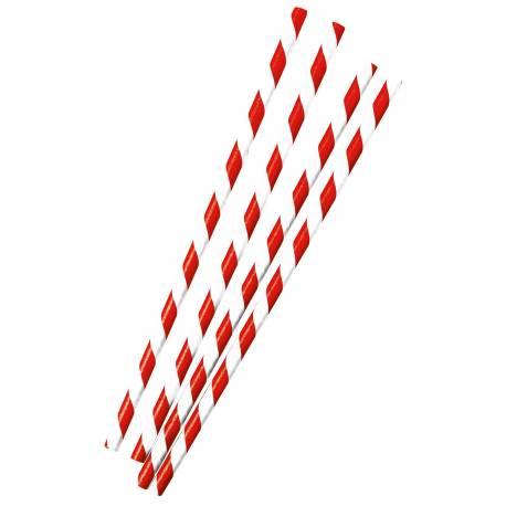12 Pailles en papier à rayures rouges idéal pour pic nic et candy bar