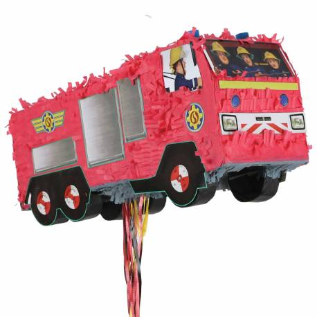 Pinata à fil en forme de camion de pompier à l'effigie de Sam le pompier à remplir de bonbons et de jouets pour l'anniversaire de votre...