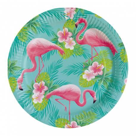 8 Assiettes en carton pour une décoration de table tendance et estivale Flamingo paradise Dimensions : Ø 23cm