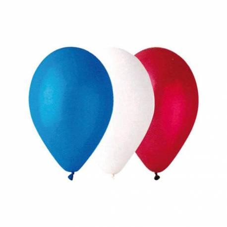 100 Ballons latex bleu blanc rouge Dimensions: Ø30cm