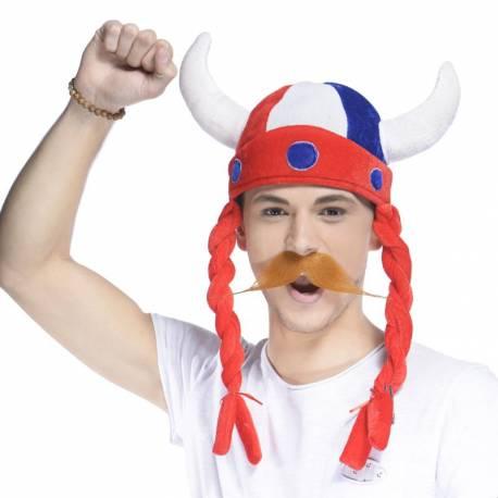 Chapeau gaulois tricolore avec deux tresses, accessoire indispensable au stade, pour soutenir votre équipe préférée lors d'un match,...