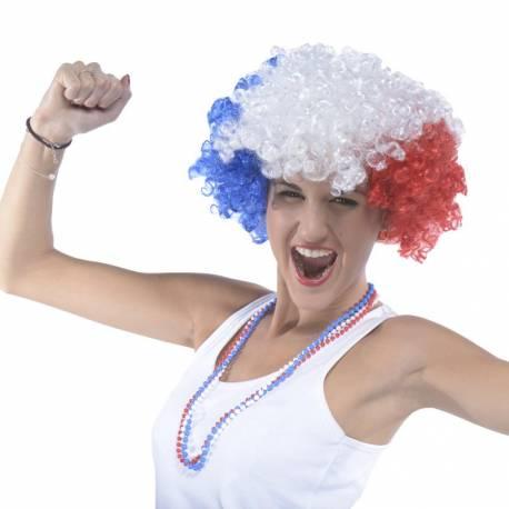 Perruque Big affro tricolore bleu blanc rouge, l'accessoire indispensable du parfait supporter !