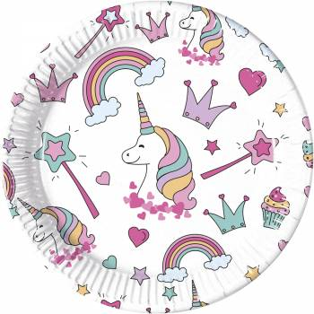 8 Assiettes magic party licorne