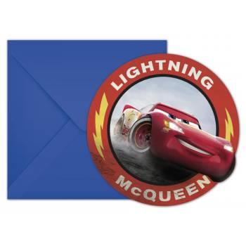 6 cartes invitations Cars legend