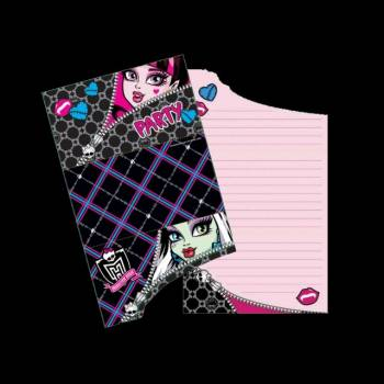 6 Invitations Monster High+ enveloppes