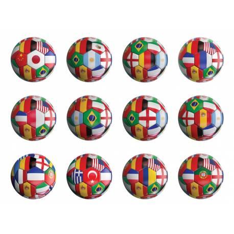 12 Mini disques en sucre pour la deco de vos cupcakes et biscuits thème Coupe du monde.