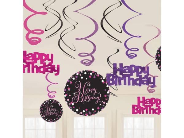 Suspensions Happy Birthday pétillant rose