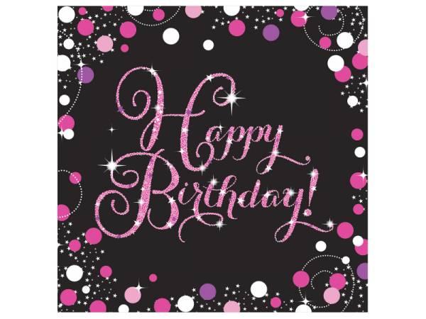 Serviettes en papier thème Pétillant pink Happy Birthday