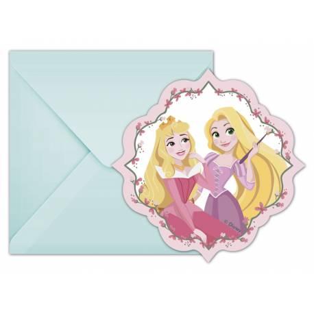 6 cartes invitations Princesse Disney rêves