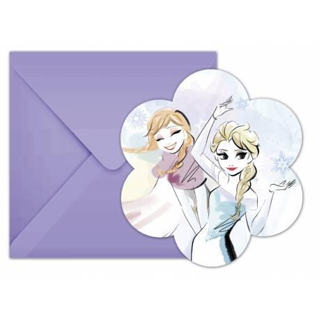 6 cartes invitations La Reine des Neiges sparkle