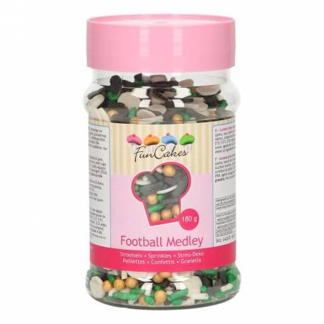 Superbe assortiment de confettis en sucre sur le thème du foot de la marque Funcakes pour la deco de vos gâteaux et cupcakes. Pot de 180gr