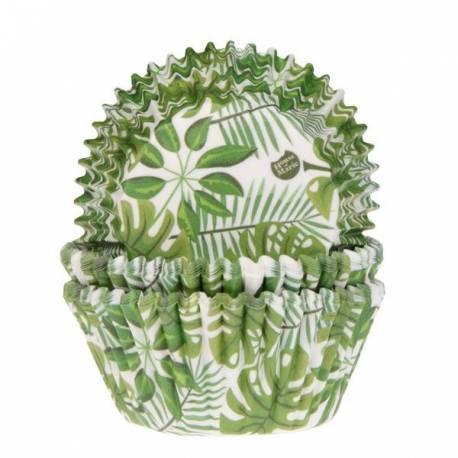 50 Caissettes à cupcakes en papier prévu pour la cuissonDécoration plante vertes tropicale, idéal pour vos pâtisseries d'étéA...