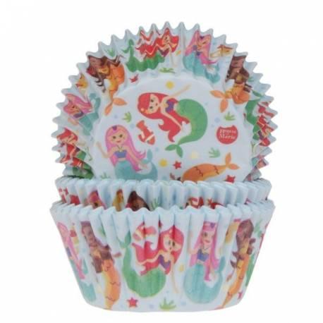 50 Caissettes à cupcakes en papier prévu pour la cuissonDécoration sirène, idéal pour vos pâtisseries d'étéA utiliser avec 1 moule à...