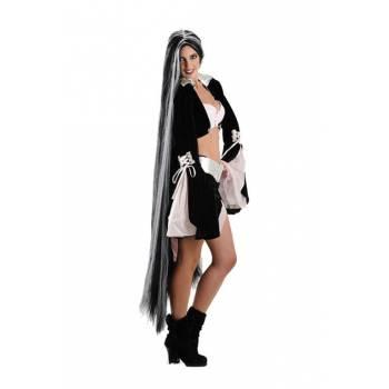 Perruque mega longue noire et blanche