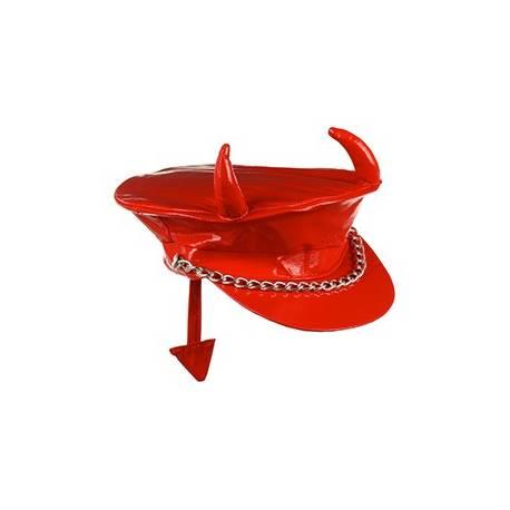 Casquette en vynil rouge diable avec queue