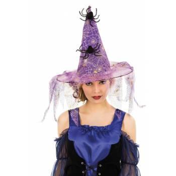 Chapeau de sorcière lambeaux violet