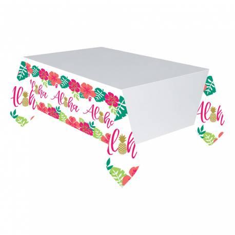 Nappe en papier avec une décoration Aloha idéal pour une déco de table tendance et estivale Dimensions : 259cm x 137cm