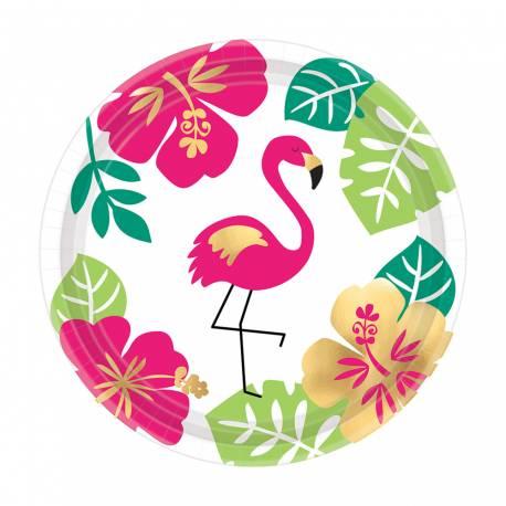 8 assiettes à dessert en carton avec une décoration Aloha idéal pour une déco de table tendance et estivale Avec décors en...