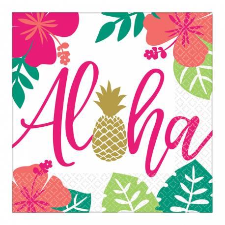 16 serviettes en papier avec une décoration Aloha idéal pour une déco de table tendance et estivale Dimensions : 33cm x 33cm