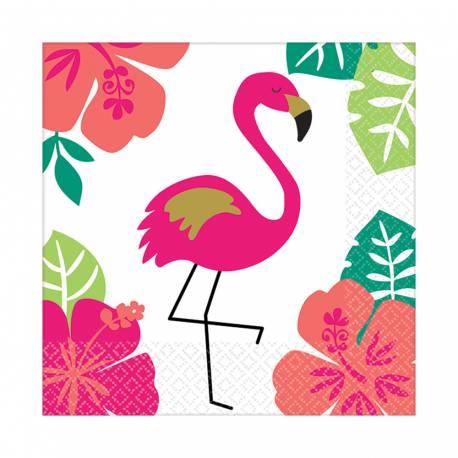 16 serviettes à dessert en papier avec une décoration Aloha idéal pour une déco de table tendance et estivale Dimensions : 25cm x 25cm