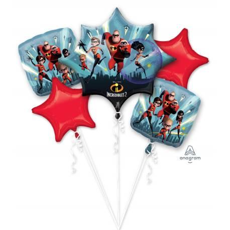 Bouquet de ballons à gonfler à l'hélium sur le thème des Indestructibles pour une décoration d'anniversaire réussi ! Peut être gonflé...