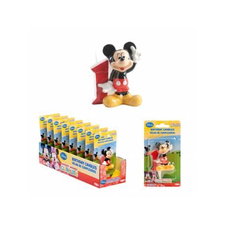 Bougie chiffre Mickey en cire n°1 Dimension: 6.5cm