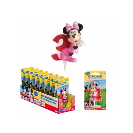 Bougie chiffre Minnie en cire n°3 Dimension: 6.5cm