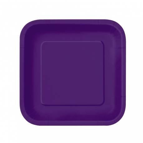 Paquet de 16 assiettes à dessertcarrées en carton violette foncé Dimensions : 18 cm x 18 cm