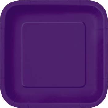 14 Assiettes carrée violette foncé