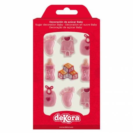 Assortiment de 9 figurines thème Baby rose en sucre pour décorer vos gâteaux