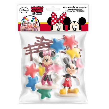 Kit de décor pour gâteau d'anniversaire sur le thème de Mickey et Minnie Contient : 1 figurine Mickey, 1 figurine Minnie, 2 bouquets de...