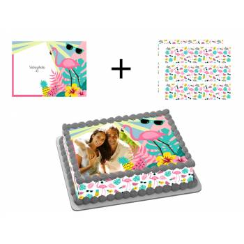 Kit Easycake flamingo tropical à personnaliser A4
