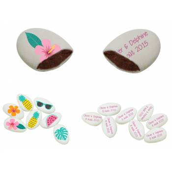 110 Dragées chocolat à personnaliser décor Flamingo Tropical texte