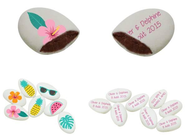 Dragées chocolat à personnaliser décor Flamingo Tropical texte
