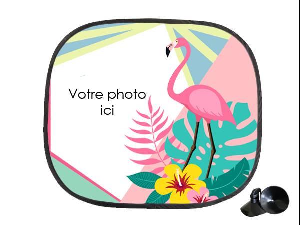 Pare soleil personnalisé décor Flamingo Tropical