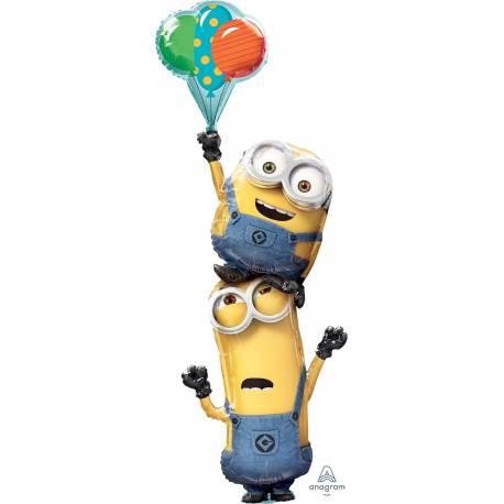 Superbe ballon géant en aluminium en forme de Minions empilés avec ballons à gonfler à l'hélium pour qu'il flotte en l'air Peut être...