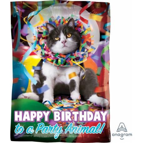 Superbe ballon en aluminium à l'effigi d'un chat humoristique à gonfler à l'hélium pour qu'il flotte en l'air Il faut 0.017m3 d'hélium...
