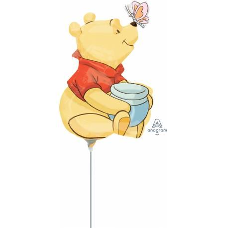 Ballon à main en aluminium idéal pour offrir à chaque invité pour un anniversaire thème Winnie Disney Livré gonflé avec tige Dimensions...