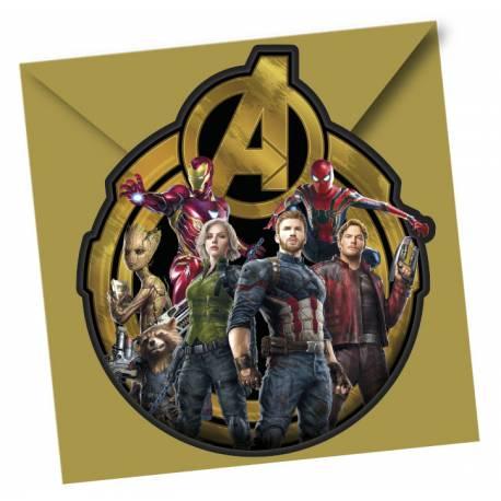 6 cartes d'invitations Avengers infinity wars